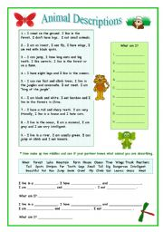 English Worksheet: Animal Describing