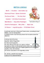 English Worksheets: British Legends