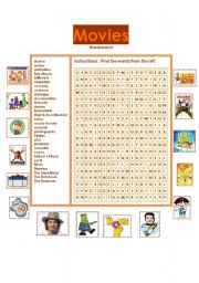 English Worksheets: Movies vocabulary