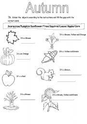 English teaching worksheets: Autumn