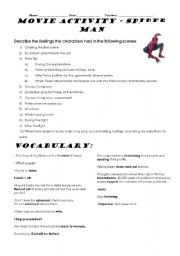English Worksheet: Describing Emotions - Spiderman Activity