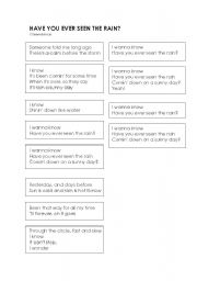 English Worksheet: Have you ever seen the rain? by Creendance