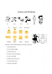 English Worksheets: Drawing prepositions and actions