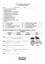 English Worksheets: Greetings & Introduction_supplementary worksheet