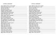 English Worksheet: Animal Alphabet Poem
