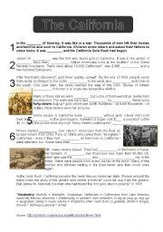 English teaching worksheets: The gold rush