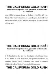 English Worksheet: Group Work California Gold Rush