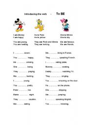 English Worksheet: Disney Themed Worksheet: Introducing the verb: TO BE