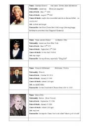English Worksheets: Biography cards