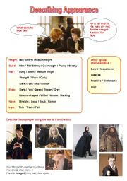 English Worksheets: Studying appearance with Harry Potter