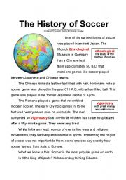English Worksheet: The History of Soccer (Vocabulary)