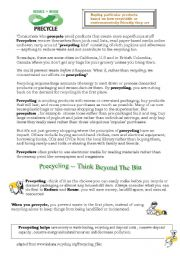 English Worksheet: Precycling- Better than Recycling