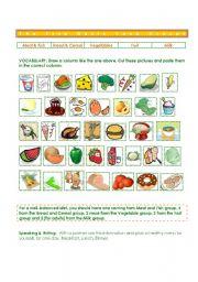 English Worksheet: Five Basic Food Groups