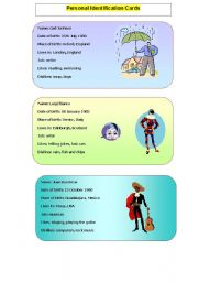 English Worksheets: Personal identification cards- Part 1