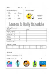 English Worksheets: daily schedule