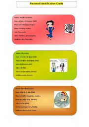 English Worksheets: Personal Identification Cards - Part 2