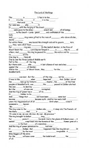 The Lord of the Rings worksheets