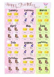 English Worksheet: Class birthdays