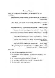 esl worksheets for adults famous quotes. Black Bedroom Furniture Sets. Home Design Ideas