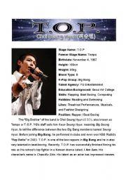 English Worksheets: T.O.P., Member of the Korean Boy Band BIG BANG