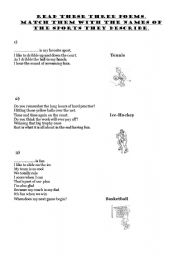 English Worksheet: Sports poems
