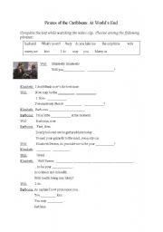 English Worksheet: Pirates of the Caribbean - proposal scene