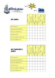 English Worksheets: Have you ever Battleships