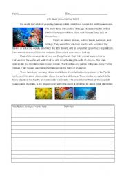 English Worksheets: All About Coral Reefs