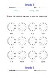 English Worksheets: oclock face