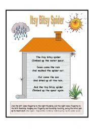 English Worksheet: Nursery Rhymes - Itsy Bitsy Spider