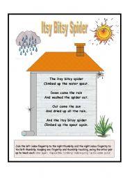 English Worksheets: Nursery Rhymes - Itsy Bitsy Spider