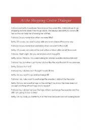 English Worksheet: Dialogue at the Shopping Center