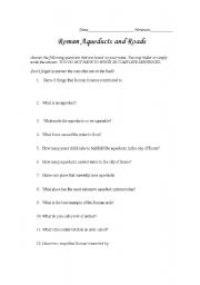 English Worksheets: Roman Roads and Aqueducts