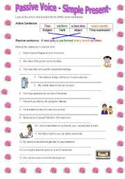 English Worksheet: Passive Voice-simple present tense-