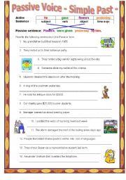 English Worksheet: Passive Voice - simple past tense