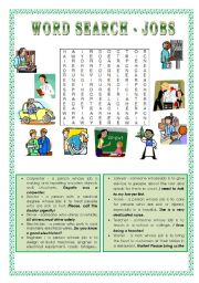 English Worksheets: Wordsearch - JOBS