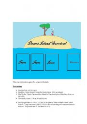 English Worksheets: Desert Island Conversation Game (1 of 3)