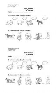 English Worksheets: animals test