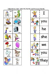 Adjectives into Adverbs and Pronoun Cards to go with The Verb Game