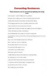 English Worksheets: Correcting sentences