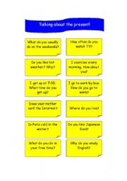 English worksheet: TALKING ABOUT THE PRESENT!
