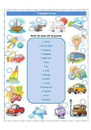 English Worksheet: TRANSPORTATION AND SUPERLATIVE FORM!