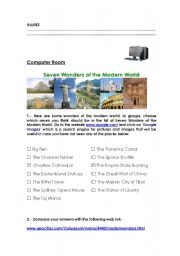 English Worksheet: Seven Wonders of the Modern world