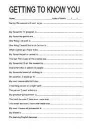 English worksheet: Getting to know students