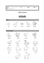 English Worksheets: Vocabulary: (Animals Part 1) Pets and Farm Animals
