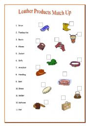 English Worksheets: Leather Match up