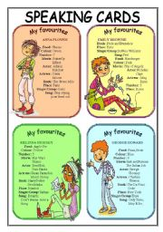 English Worksheets: My favourite.....(Speaking cards 1/2)