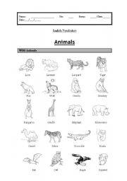 English Worksheets: Vocabulary: wild animals