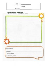 English Worksheets: Writing about themselves