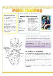 English Worksheet: Palm reading (3 pages)